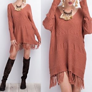 JORDYN Fringe Detail Sweater - CINNAMON